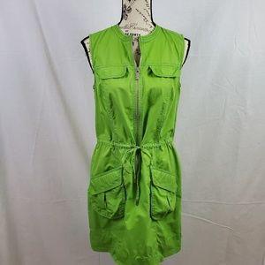 Micheal Kors Drawstring Dress Green Petite Medium